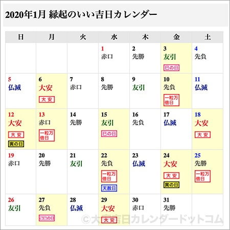 カレンダー 2020 宝くじ